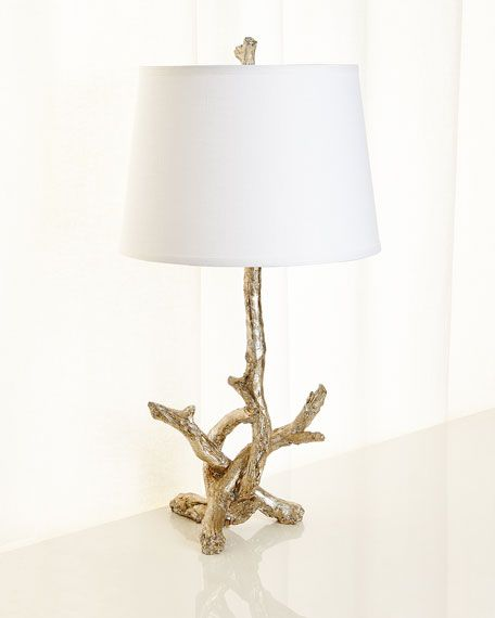 Jamie Young Silver Leaf Branch Lamp In 2020 Driftwood Table Silver Leaf Table Lamp
