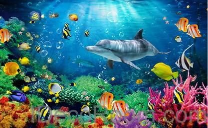 Dophin Coral Colorful Fish Under the Sea 00008 Floor Decals 3D ...
