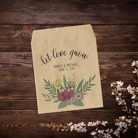 Let Love Grow Favor, Wedding Seed Packets, Wildflower #seedpackets #weddingfavors #weddingseedfavor #letlovegrow #weddingseedpackets #rusticwedding #plantfavor #peonypink #seedpacketfavors #personalizedfavor #seedpacketfavor #customseedpacket #flowerseedpackets