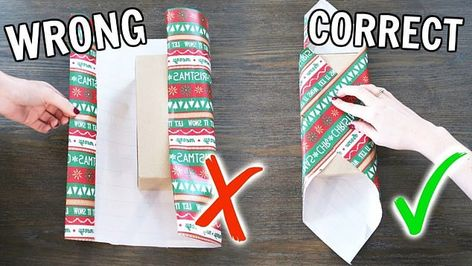 The 'diagonal wrapping method' (right) promises to quickly and painlessly make wrapping easier - and it turns the conventional wrapping method (left) on its head