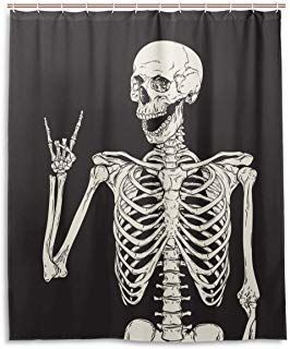 Amazon Com Skeleton Shower Curtain With Images Skull Shower