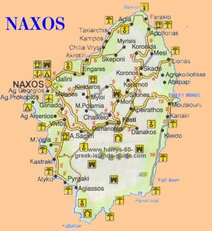 Maps of the Greek island of Naxos Cyclades Greece Map Naxos