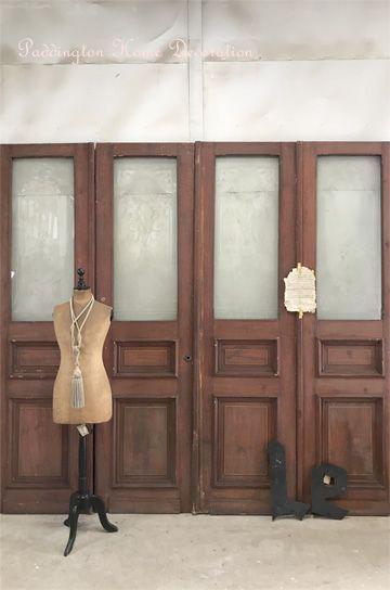 教会のエッジングガラス4枚ドア パディントン アンティーク家具