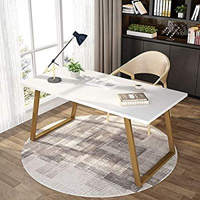 Amazon Com Tribesigns 55 White Writing Desk Minimalist Computer Desk With Slanted Gold M White Computer Desk Modern Computer Desk Minimalist Computer Desk