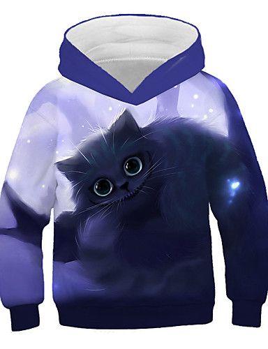 24.19] Kids Girls' Active Street chic Cat Print 3D Animal Print Long Sleeve  Hoodie & Sweatshirt Purple   Hoodies, Long sleeve hoodie, Sweatshirts hoodie
