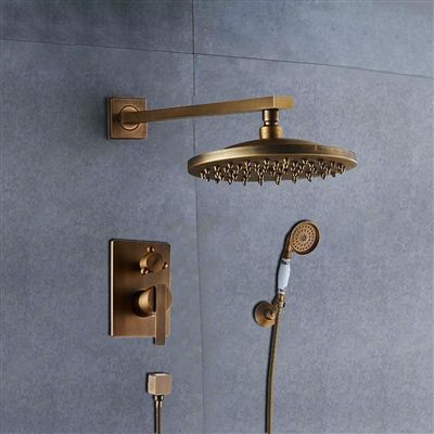Shop Bathselect Ancient Round Antique Brass 8 Rainfall Wall Shower Head With Hand Held Shower 10 Days Bathroom Shower Heads Shower Panels Antique Brass