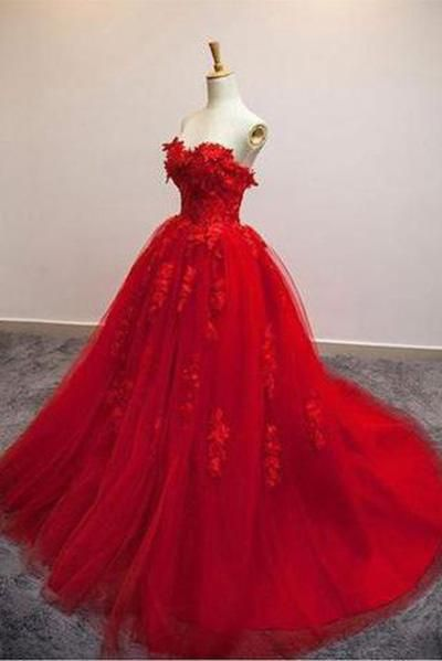 Red Ball Gown Tulle Strapless Generous Floral Fashion Quinceanera Prom Dresses Uk Pm548 Red Ball Gowns Floral Prom Dresses Prom Dresses Ball Gown