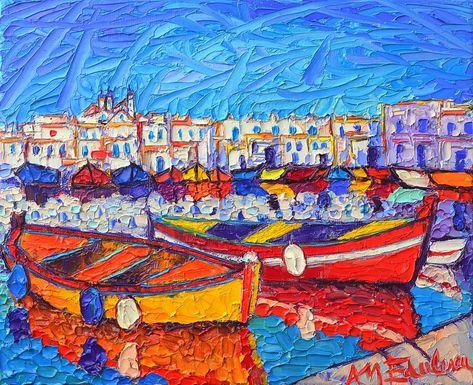 NAOUSA HARBOR GREECE PAROS ISLAND modern impressionist palette knife oil painting Ana Maria Edulescu
