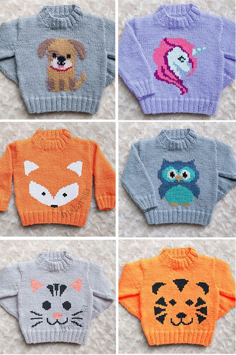 Knitting Pattern For Baby And Child Sweaters With Animals Designer