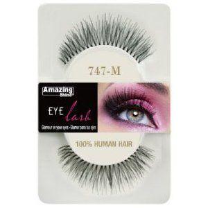 964016426e1 Amazing Shine Human Hair False Eyelashes - 747-M: Amazon.co.uk: Beauty