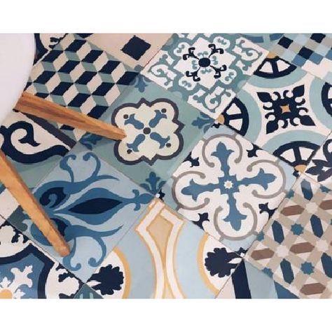 Carrelage Style Ciment Mix Bleu 33x33 Cm Hanoi Blue 1m