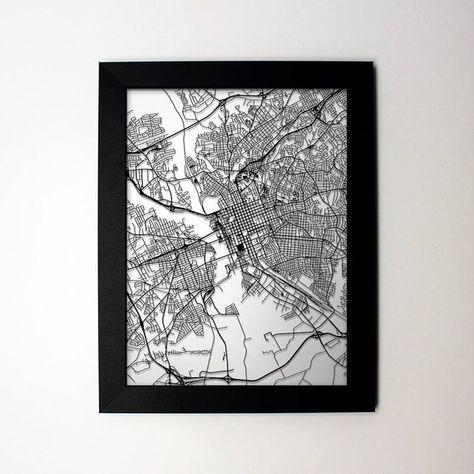 Columbia, South Carolina laser cut street map modern art - custom ...