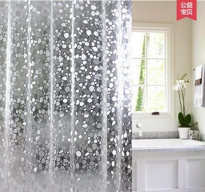 Hot Selling Than Non Waterproof Mold Transparent Shower Curtain Shower Curtain Thick Pebble Finished Plastic Curtains Stall Shower Curtain Bathroom Decor Sets