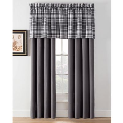 Camden Plaid 24 Straight Window Valance In Charcoal Charcoal Grey