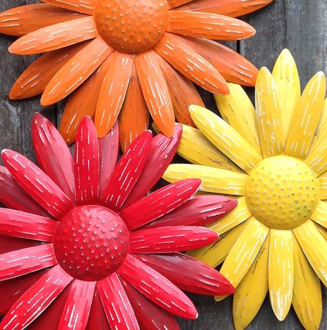 Metal Flower Wall Art - Metal Fence & Yard Art - Red Orange Yellow Indoor Outdoor Hanging Flower - Housewarming - Mothers Day by ChicFabulousFlowers on Etsy