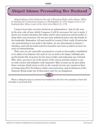 Aail Adams Letter This Worksheet Features A Where She Tries To Convince John Of Her Position Your Student Will Determine S Point