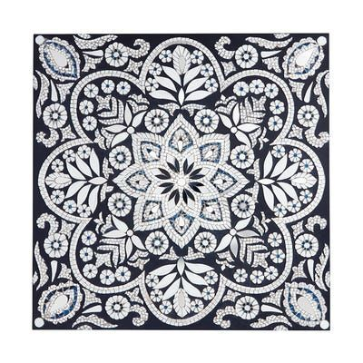 Floral Medallion Blue White Mosaic Wall Panel In 2020 Mosaic Wall Wall Paneling Mosaic