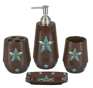 Turquoise Star Bath Set Cowboy And Western Decor Texas Star Bathroom 35 Bathroom Sets Western Bathrooms Western Bathroom Sets