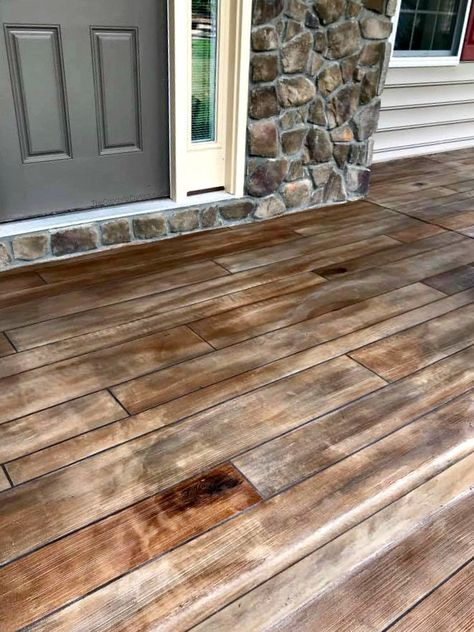 Crazy Cool Concrete Coatings Rustic Concrete Wood Porch Entry - Stone Wall Make A Chart Article Body Concrete Wood Floor, Wood Stamped Concrete, Concrete Front Porch, Concrete Steps, Concrete Lamp, Stained Concrete, Concrete Patio, Concrete Countertops, Decorative Concrete