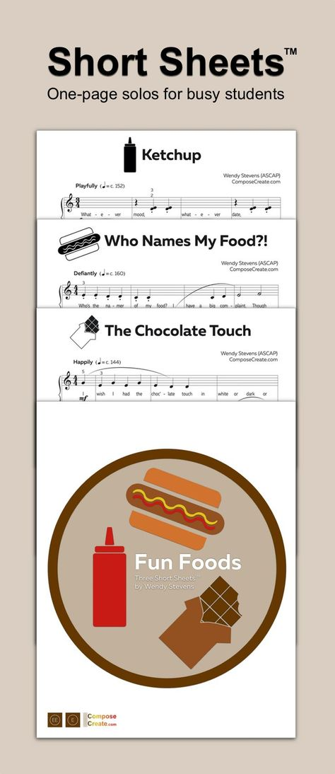 This set of Short Sheets™ contains 3 piano solos about fun foods including ketchup, chocolate, and the weird names of kid foods. This set is early to mid elementary with funny lyrics. These are excellent for students with short attention spans and students who need short pieces to progress. #piano #teacher #music #sheet #student #elementary #easy #download #downloadable #sheetmusic #food #solo #piece #pedagogy