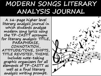 A 16 Page Higher Level Literary Analysis Journal In Which Students Analyze Modern Song Lyrics Using The Tp Castt Acronym For L Literary Analysis Songs Analysis