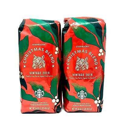 Starbucks Christmas Blend Vintage 2020 2 Starbucks Whole Bean Coffee Christmas Blend Vintage 2019 Rare