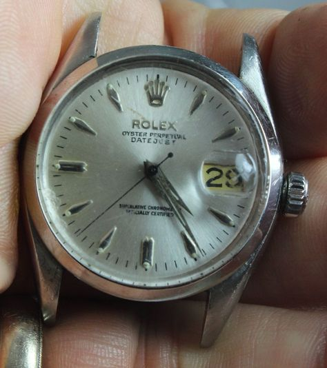 VINTAGE ROLEX AUTOMATIC DATEJUST MODEL 6534 BUTTERFLY MOVEMENT CIRCA 1958 WATCH