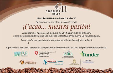 Tarjeta Invitación a Conferencia, Chocolats HALBA. FHIA. LGALLP 2014.