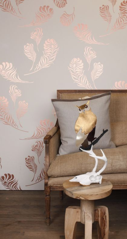 Plume #3 Snow/Copper Metallic--i love everything about this!!!the wallpaper if perfect--love the owl pillow way easy to make perfect little sitting area for bedroom (Randall's Bedroom & Bathroom?)(wallpaper)