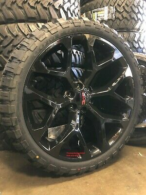 Advertisement Ebay 24 Gmc Sierra Snowflake Black Wheels 33 Mt