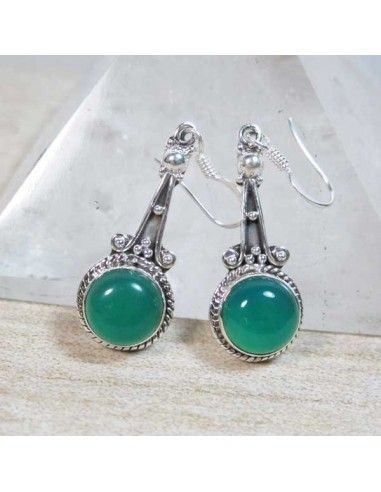Boucles D/'oreilles femme Pendantes ethnique rose en argent tibétain pierre verte