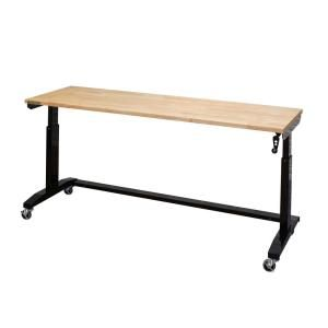 Husky 42 In H X 72 In W X 24 In D Steel And Wood Folding Adjustable Height Garage Workbench In Black Wsh72fwb Adjustable Height Work Table Work Table Garage Work Bench