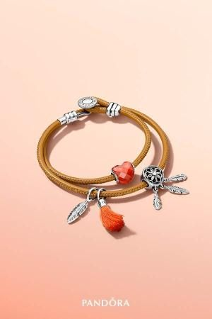pandora leather bracelet orange