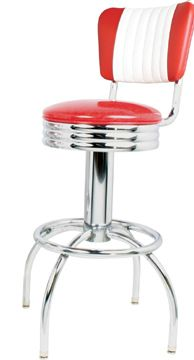 richardson seating retro 1950s chrome swivel bar stool with red seat24 inch 50s diner project pinterest
