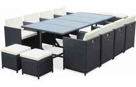 Salon De Jardin Cubo Noir Table En Resine Tressee 8 A 12 Places