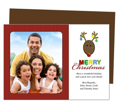 Photo Cards : Reindeer Christmas Holiday Photo Card Template