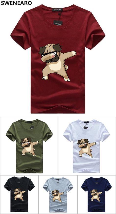a1b2bbf3 SWENEARO Men's T-shirts Fashion Animal Dog Print Hipster Funny t shirt Men  Summer Casual street Hip-hop Tee shirt Male Tops 5XL