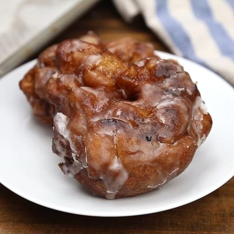Apple Fritters made with a cakey batter incorporated with juicy apples are the ultimate homemade treat! The sweet glaze sends these fritters over the top and may even remind you of a stuffed funnel cake. But better of course! My favorite part? You can have this fabulous Apple Fritter in front of you in 30 minutes!