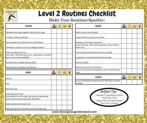 Level 2 Gymnastics Skills Checklist Routines Gymnastics Mom Stuff Gymnastics Skills Gymnastics Routines Gymnastics Levels