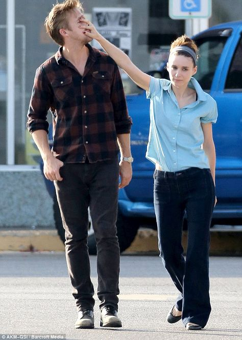 Ryan Gosling's charm fails to work Rooney Mara as she pushes his face away on set of new movie