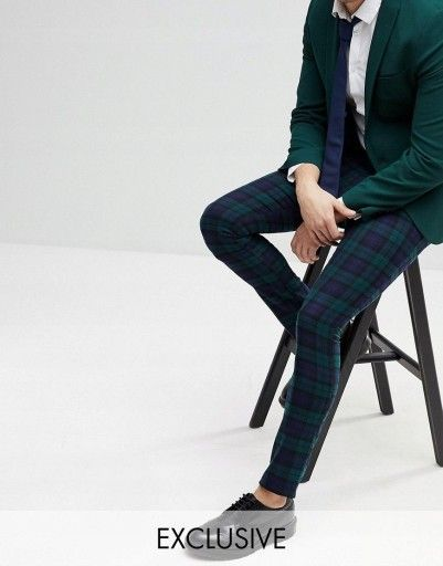K19 Spodnie Granatowe W Krate Eleganckie L 8176589960 Oficjalne Archiwum Allegro Pantsuit Fashion Suits