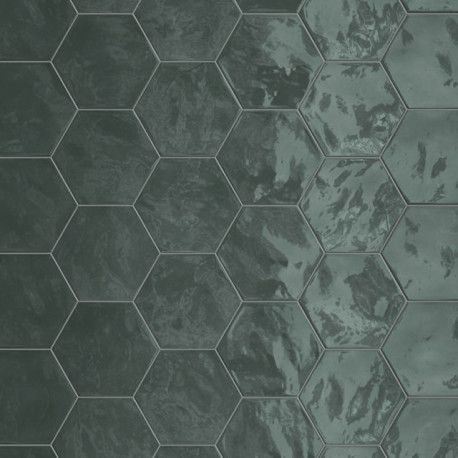 carrelage hexagonal vert glossy