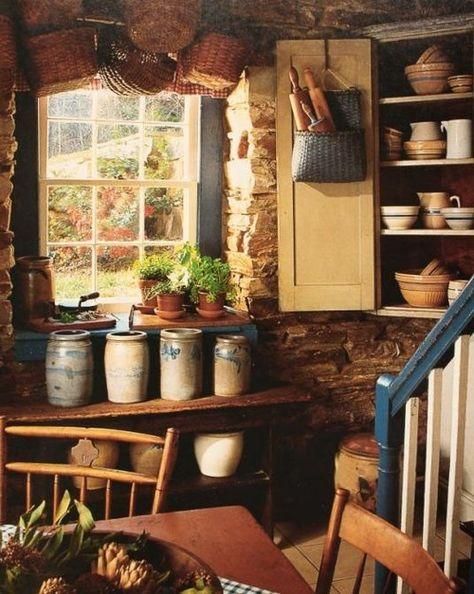 Old crocks in prim kitchen ...~♥~
