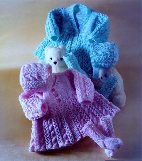 082aedebe Baby Knitting Pattern - Matinee Jackets Bonnet   Socks 2 styles ...