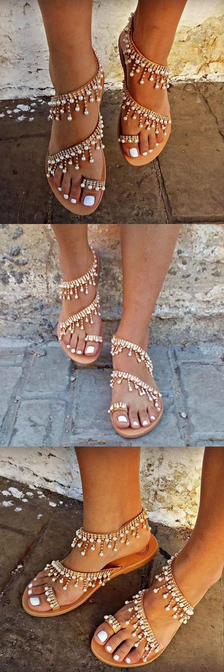 $38.99 USD Women Bohemian Style Sandals Casual Beach Pearls Shoes