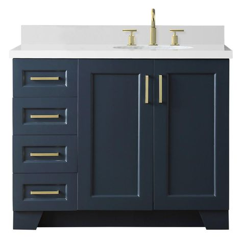 Ariel 43 In W X 22 In D Bath Vanity In Midnight Blue With Quartz
