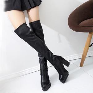 Women Ladies Boots High Heeled Knee Heels Waterproof Over