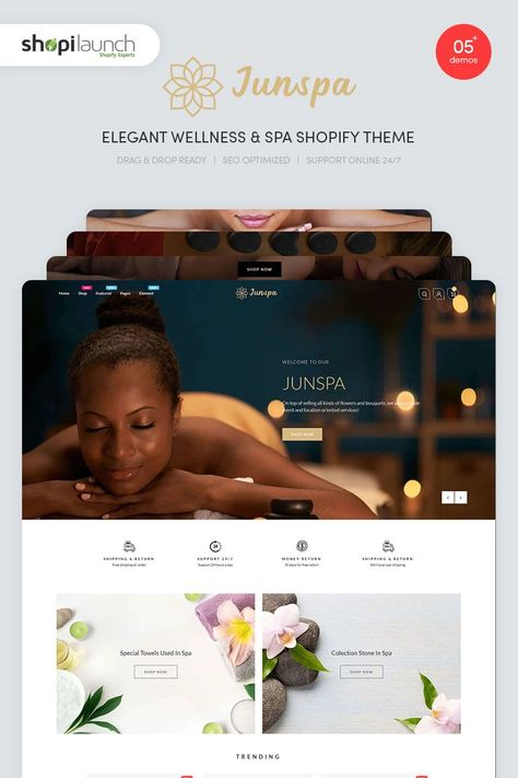 Junspa - Elegant Wellness & Spa Shopify Theme #96095