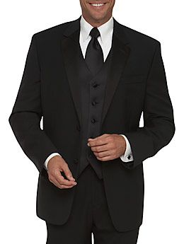 Calvin Klein Two-Button Black Notch Lapel    A satin-faced notched lapel enhances the classic look of this black tuxedo. Choose from pleated or flat-front pants to complete the look.