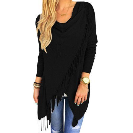 Women Knit Batwing Top Poncho With Hood Tassel Hem Cardigan Coat Sweater Outwear